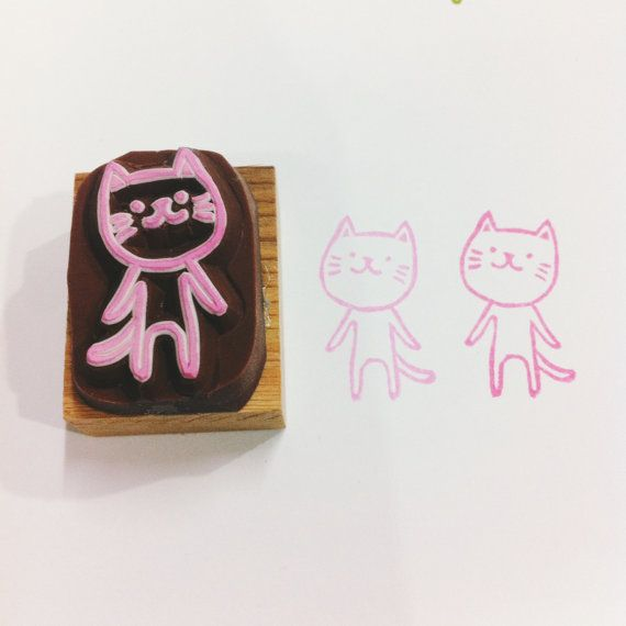 cat pattern rubber stamp  by DeerdayShop