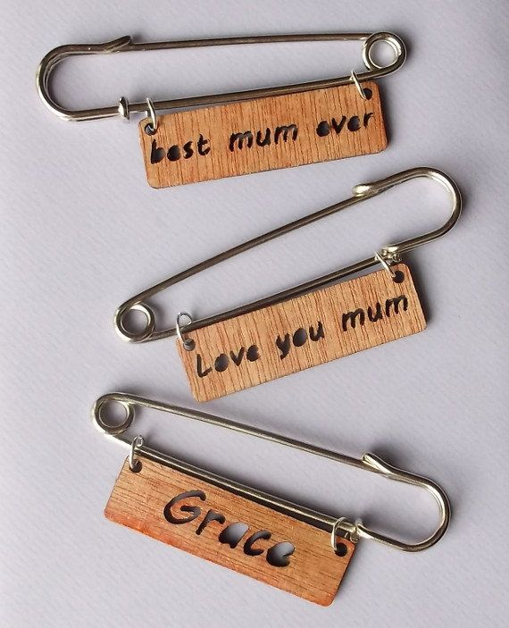 Wooden Brooch Kilt Pin with Name #motherday #giftforher #birthdaygift