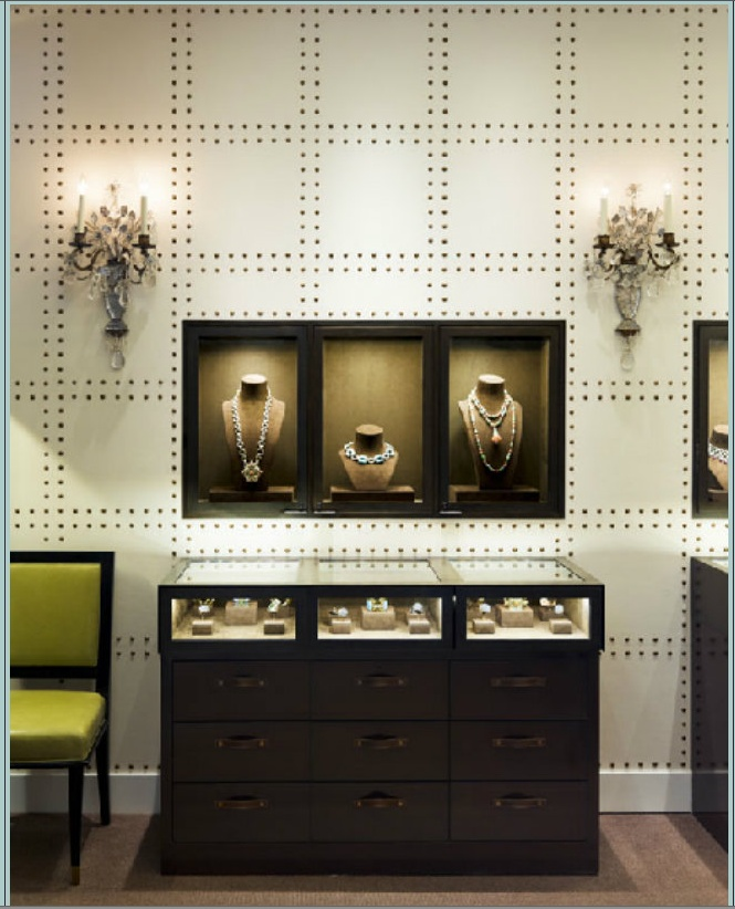 Navy Grasscloth Wallpaper And Gold Rivets Mirror: 9 Best Images About JEWELRY BOUTIQUES On Pinterest