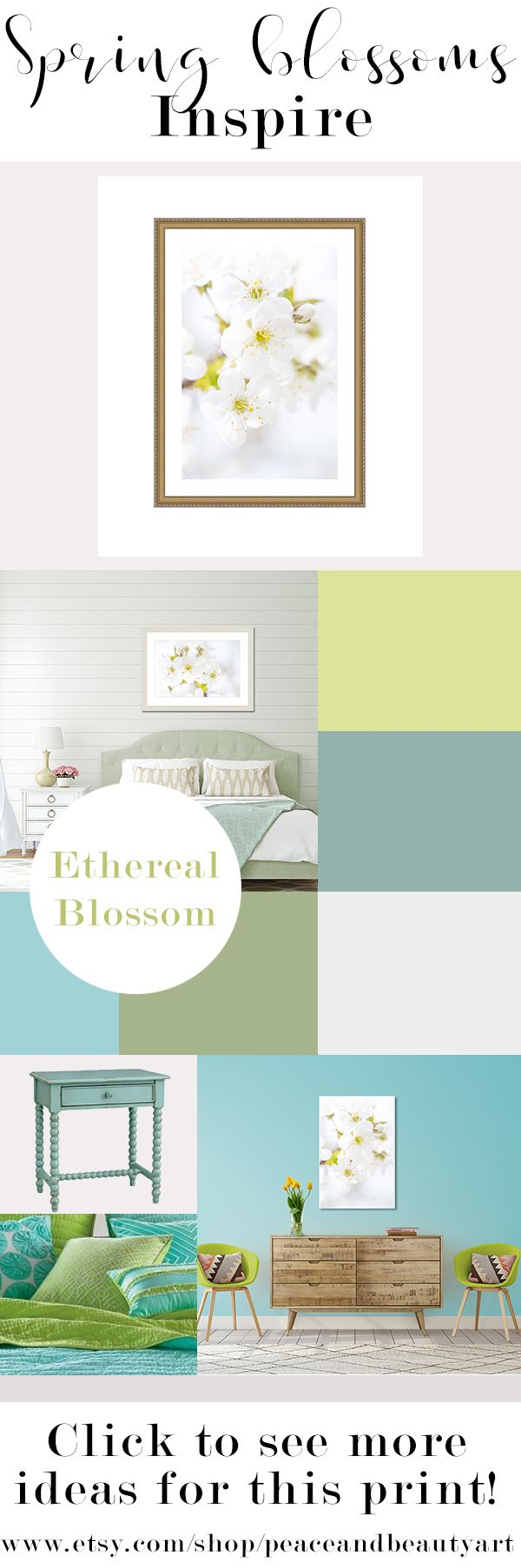 """Bring spring flowers into your master bedroom, bathroom or living room all year round with this crisp white and yellow, cherry blossom tree branch, minimalist, still life, wall art. This floral print entitled, """"Ethereal Blossoms"""", will look great with cottage chic, boho, or traditional decor or any colorful space needing the grounding of neutral art. Best of all, this piece is versatile and can be hung vertically or horizontally.  White, green, yellow, aqua color palette"""