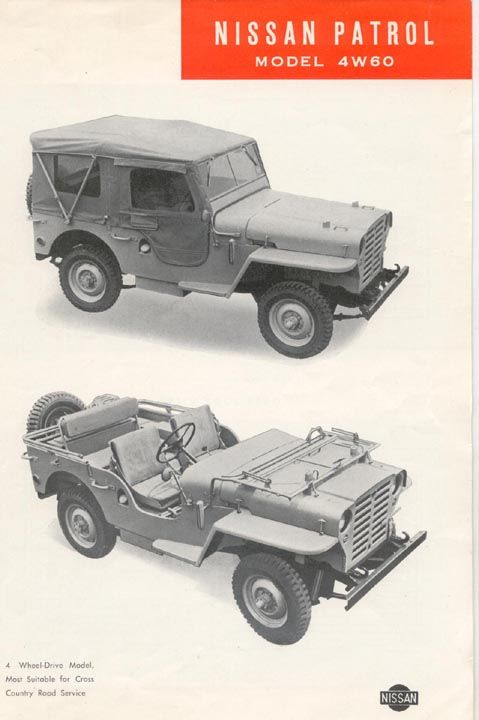 The Nissan Patrol 4W60 begin production in September 1951. The look was a little different in their prototype. In fact, it looked more like a Jeep than the prototype. However, it was larger in height, width and length. It also came with a 75 hp side valve 3760cc 6 cylinder engine, compared to the 60hp four cylinder found in the Willys. The 4W60 Nissan Patrol was in production until August 1955, when it was replaced by the 4W61 Nissan Patrol.