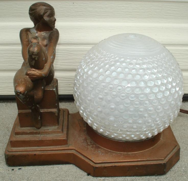 Nude Table Lamp Art Deco Nuart FRANKART Era with White Hobnail