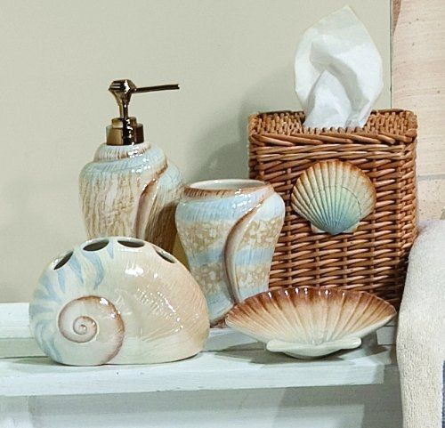 Sarasota seashells toothbrush holder saturday knight http for Beach themed bathroom sets