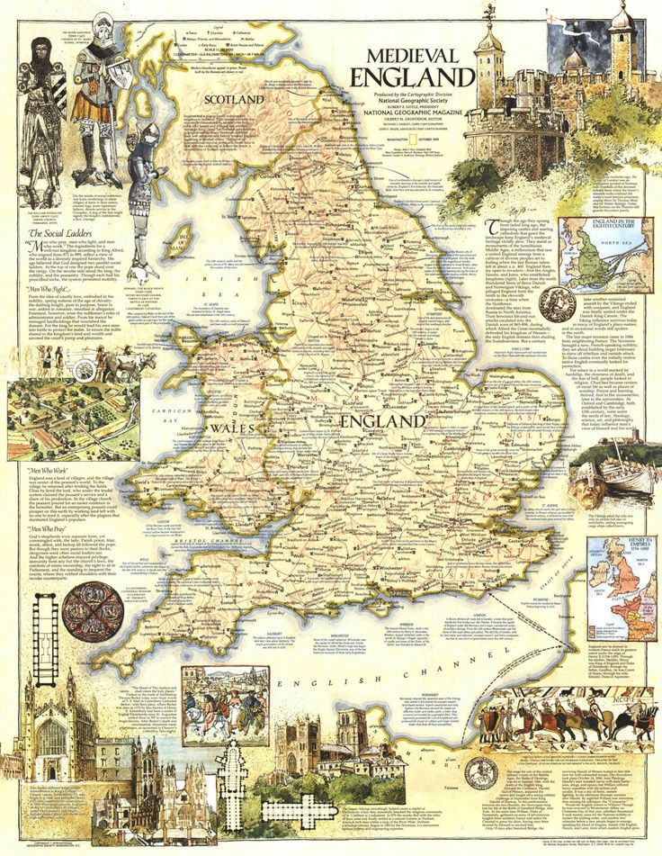 Map of Medieval England, by National Geographic Magazine, October 1979