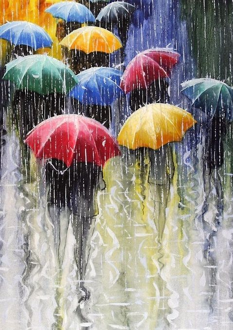 colorful rain,  Does anyone know who the artist is?  Thank you.