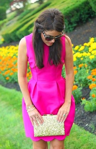 Women's' Hot Pink Party Dress, Gold Sequin Clutch, and Black Print Sunglasses