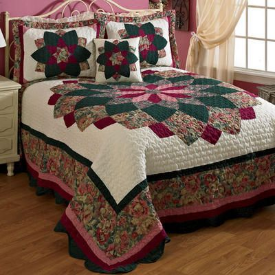 "Twin Peacock Quilted Bedspread 80"" x 108""                                                                                                                                                                                 More"