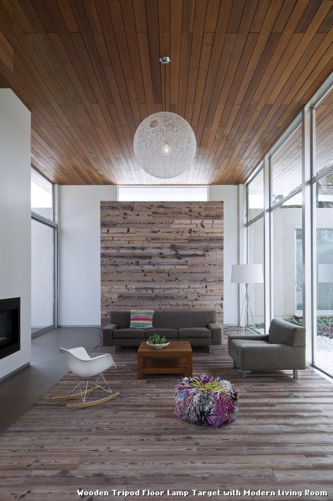 Wooden Tripod Floor Lamp Target with Modern Living Room
