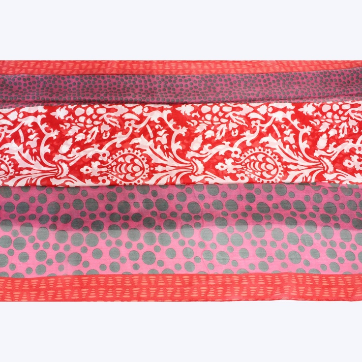 Silk scarf from the Juniper Hearth e-Emporium, screen printed by hand. Fiery red and hot pink. $79.
