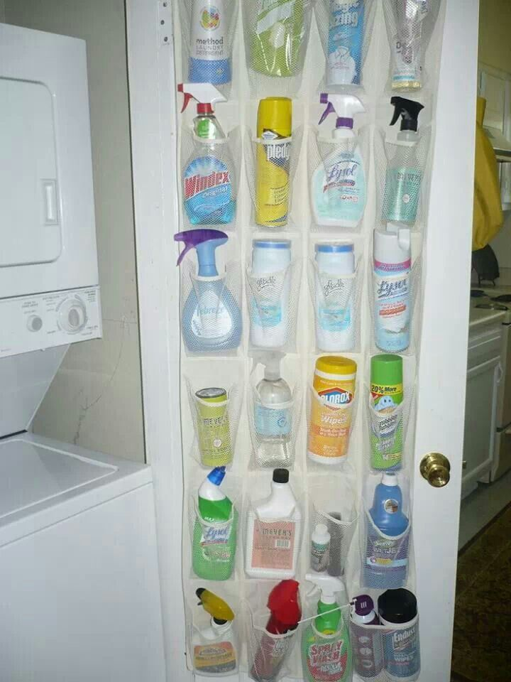 Use shoe holder to organize cleaning supplies