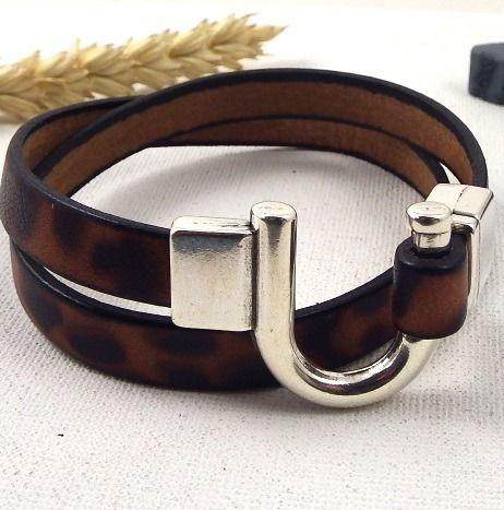 Kit tutoriel bracelet cuir léopard fermoir fer a cheval plaqué argent : Kits, tutoriels bijoux par bijoux-giuliana