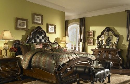AICO Palace Gates California King Tufted Leather Mansion Bedroom by Michael Amini AI-02000CKM6-53 $6404.00