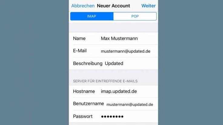 Auch beim iPhone können Sie in der manuellen Einrichtung zwischen den Kontotypen POP und IMAP wählen.