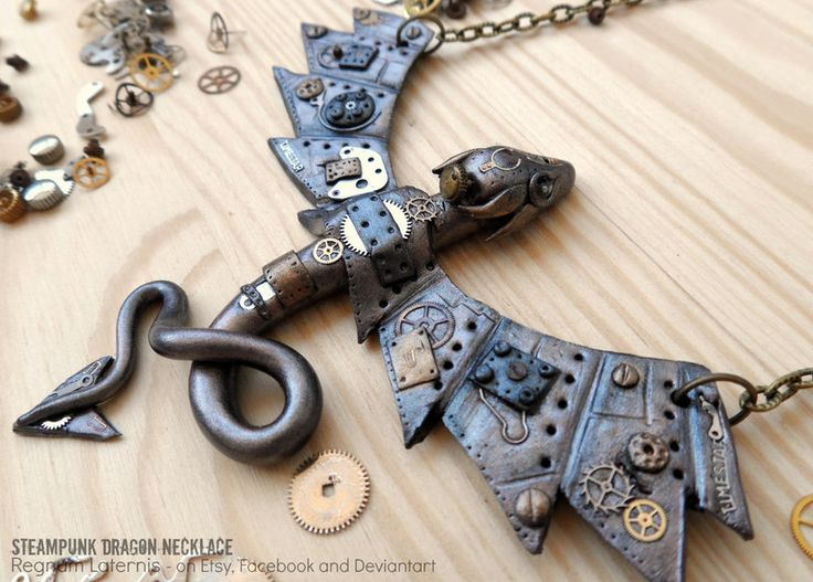 Steampunk Dragon Necklace - polymer clay art by RegnumLaternis.deviantart.com on @DeviantArt