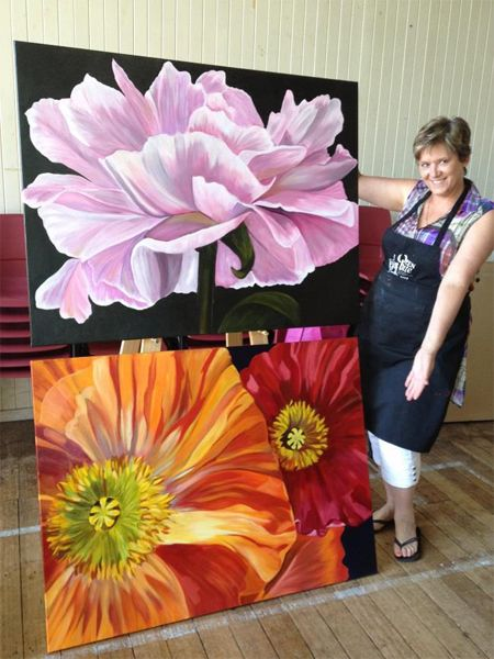 Newby painter brings poppies and a peony to life