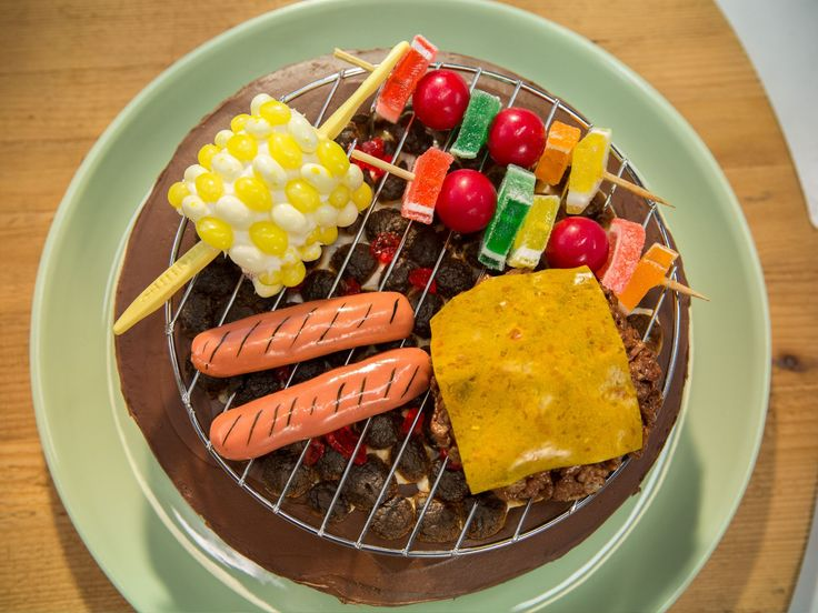 Get-Your-Grill-On Cake recipe from The Kitchen-jelly bean corn, candy kababs Rice Krispie burger, marshmallow coals....TOO CUTE!!!!