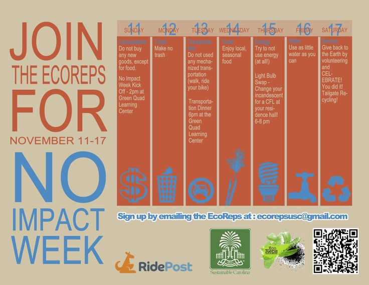 USC EcoReps No Impact Week - Event calendar flyer of week events - event calendar