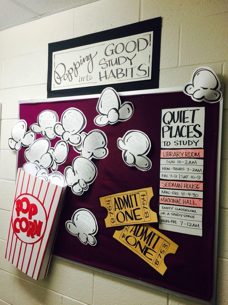 Popcorn bulletin board - RA - resident assistant - dorm - college - gvsu