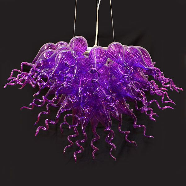 Stunning Purple Hand Blown Glass Chandelier 35 W 2018 Color Of The Year
