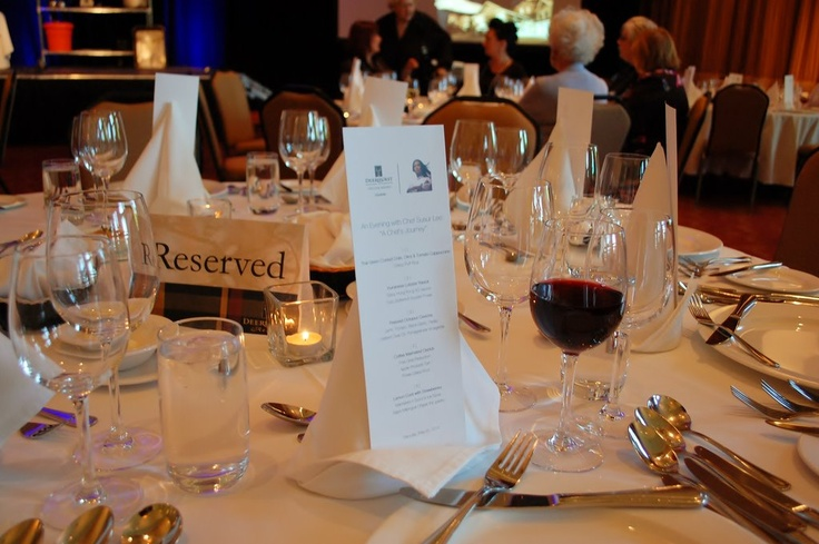 Table setting for the 5-course Chef Lee's dinner Saturday night with matched Ontario wines.