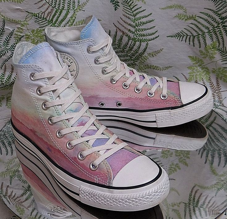 CONVERSE ALL-STAR PINK WHITE SUNSET SKATEBOARDING FASHION SHOES US WOMENS SZ 9 #Converse #HighTop