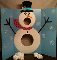 "Class Party Game---Snowman toss game! Assign points to the holes and have students total the amount they scored. For literacy, they get one ""snowball"" for each vocabulary or spelling word they get correct and get to throw that many times. Students make snowflakes following written direction and patterns, then decorate the snowman and poster for an activity on following directions."