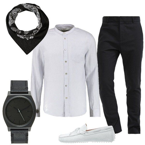 Un paio di pantaloni neri viene indossato con una camicia in lino con collo alla coreana grigia, dello stesso colore dei mocassini, nella proposta pensata per l'uomo che vuole vestire comodo, ma con stile. Si possono aggiungere un orologio con cinturino e quadrante scuri e un foualrd nero con disegni chiari.