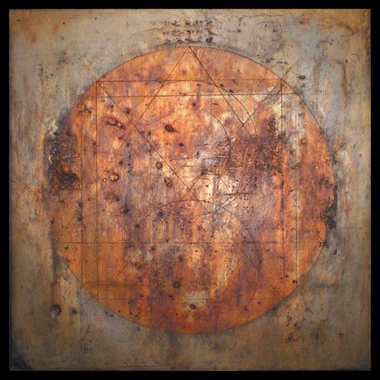 Tanya Bonello, Within without, 350x350mm, gypsum, gold leaf and oil on board, 2009