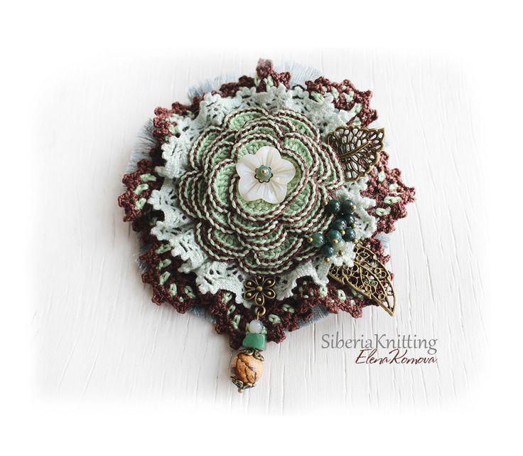 "Boho Brooch ""Grape vine"" with agate, jasper and pearl. Crochet cotton brooch…"