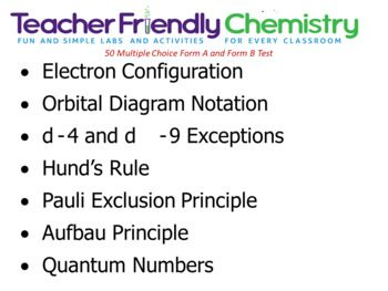 This test includes Form A Test and Form B Test copies and a Practice Test. The Practice Test can be used a day or two before the test as practice, review, homework or group grade. • Electron Configuration • Exceptions d-4 and d-9 • Orbital Diagram Notation • Pauli Exclusion Principle • Hund's Rule • Aufbau Principle • Cation and Anion Electron Configurations • Isoelectronic Series