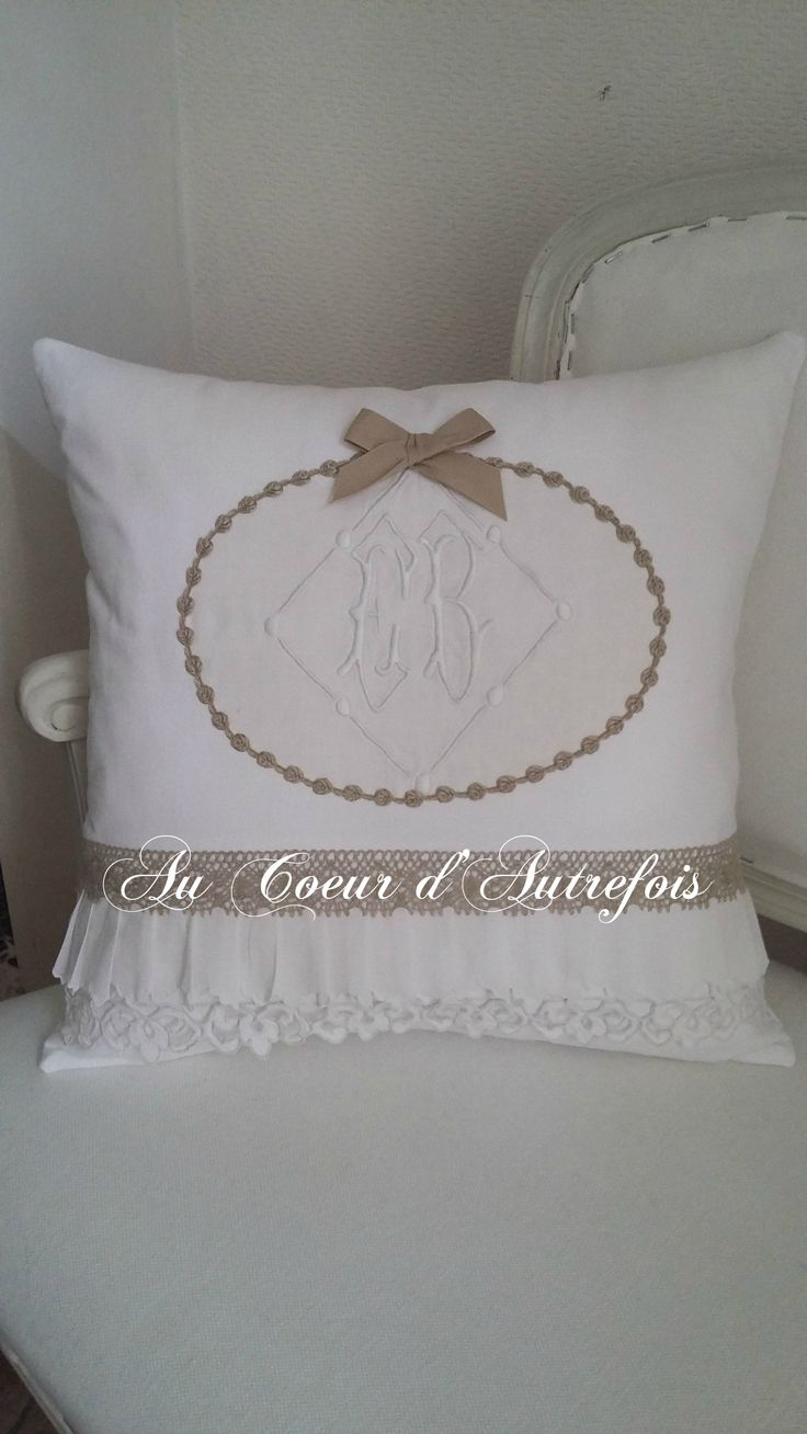 63 best coussins au coeur d 39 autrefois images on pinterest cushions embroidery and lace. Black Bedroom Furniture Sets. Home Design Ideas
