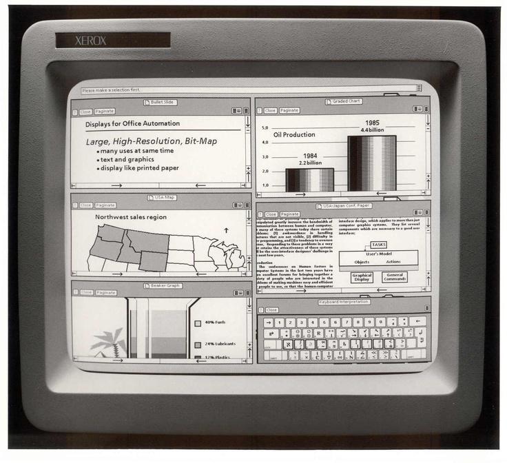 Xerox Star 8010 graphic user interface, 1981