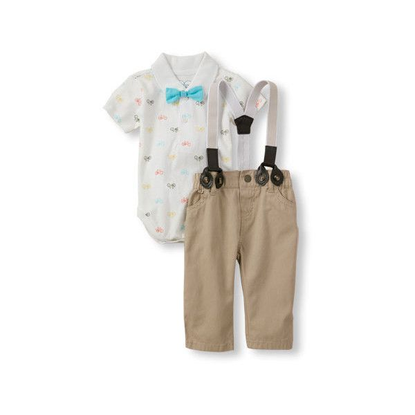 Baby Boys Short Sleeve Bicycle Print Polo Bodysuit, Bowtie, And... ($17) ❤ liked on Polyvore featuring baby boy
