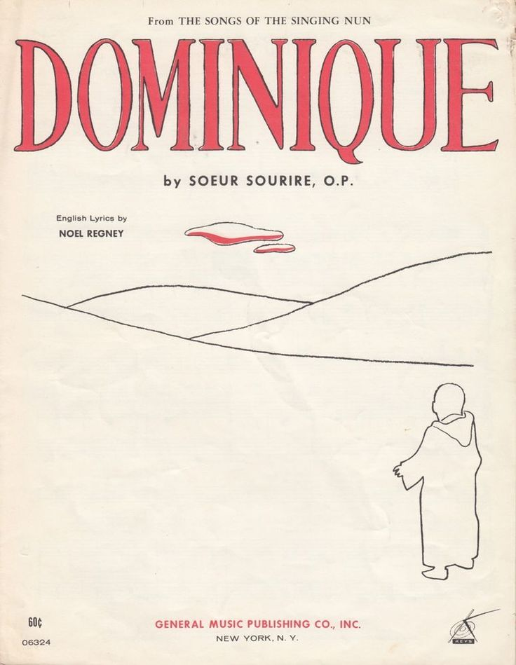 Dominique 1963 Sheet Music Song of the Singing Nun Soeur Sourire Noel Regney