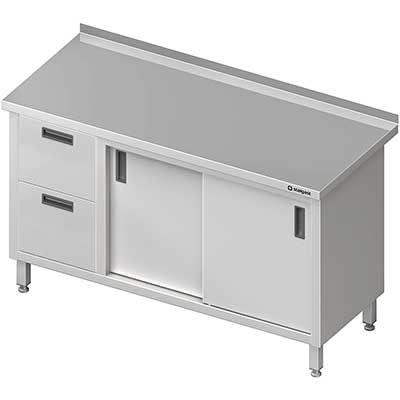 Stół przyścienny z blokiem dwóch szuflad(l), drzwi suwane meble nierdzewne