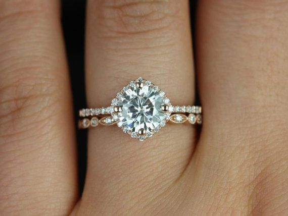 Kitana Original & Ultra Petite Bead Eye 14kt FB Moissanite and Diamonds Cushion Halo Wedding Set (Other metals and stone options available)