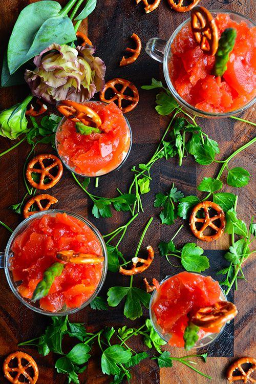 イタリアンカラーの春アミューズ トマトジェリーのきらきらマッシュ 新じゃが アスパラ Pomi - タパス!ピンチョス!家バル! 金魚の肴