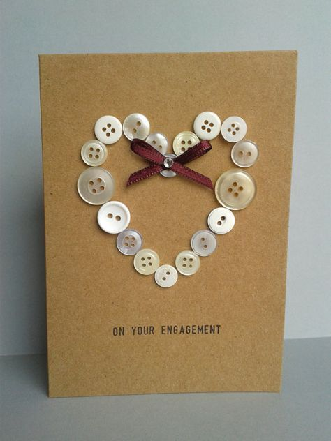 Unique Button Heart Engagement Card Congratulations, on your Engaged
