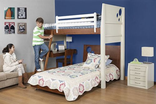 AMBIENTE 3 EN 1 Si necesitamos ahorrar espacio, este ambiente es ideal para dos hermanos que necesiten un escritorio dentro de la habitación. La cómoda forma del camarote en L permite adicionar un escritorio con silla.