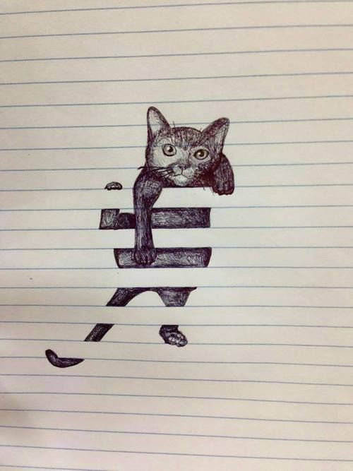 Optical illusion Drawing on lined paper. #catillustrations #cat #illustration #catdrawing