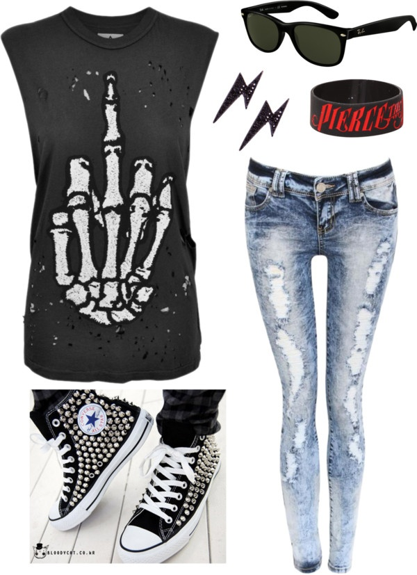 """""""Punk Look"""" by jennydee26 on Polyvore--I want this! Minus the Pierce The Veil bracelet, because no."""