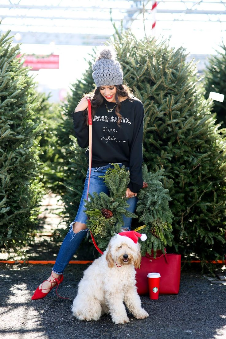 emily gemma blog, the sweetest thing blog, what to wear casual christmas dinner, what to wear during the holidays comfortable, winter fashion ootd pinterest, winter fashion, beanie with pom pom, santa sweatshirts cute, golden doodle f1b, fitz gemma, under the sun tulsa, wreath shopping tulsa, AG jeans on sale, lace up flats topshop, topshop red flats, santa sweatshirt, dear santa i can explain sweatshirt, kate spade stacked rings, christmas photo idea with dog, dog with wreath around neck…