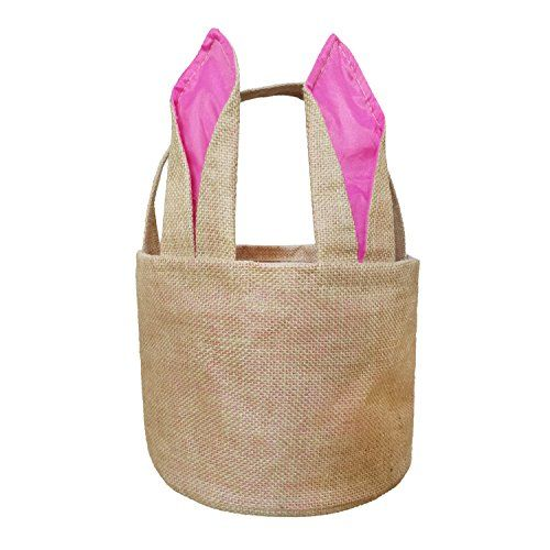 Easter Bunny Basket Egg Baskets for Kids with Cross-stitch Line Burlap Gift Bag Round Tote Jute Bags for Embroidery DIY Daily Use (Pink) FH03PK
