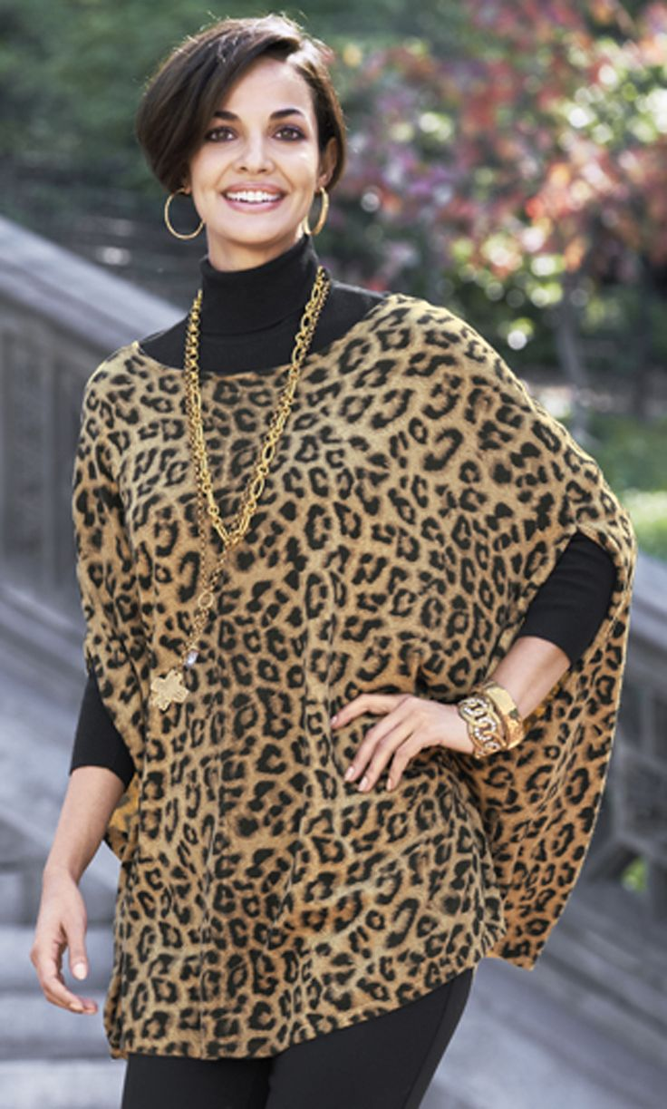 Chico's Animal Chianti Cape....a nice animal printed crape shrug .. ideal to counteract the variations for a triangular body shape.