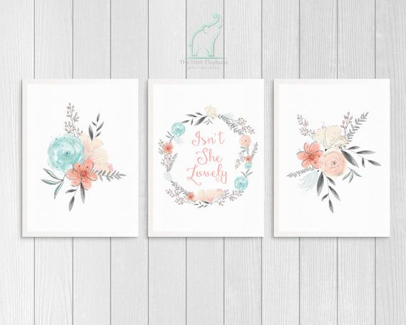 Pink and Mint Nursery Prints, Printable, Isn't she Lovely, Coral and Grey, Girl room, Nursery decor, Pink bedroom, Flowers, Quote print