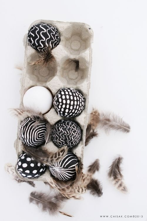 Black and white patterned eggs, fine as a decoration on the tables or to give away gift.