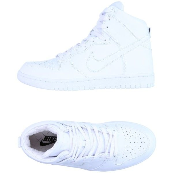 Nike High-tops & Sneakers ($160) ❤ liked on Polyvore featuring shoes, sneakers, white, high-top sneakers, white high top shoes, white leather shoes, white hi top sneakers and white flat shoes