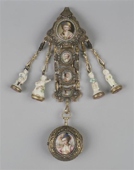 Louvre OA8607, gilt chatelaine with enamelled pictures of ladies, a watch, and charms, Paris, c. 1767-1800