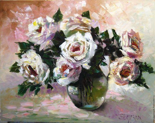 Картины цветов ручной работы. Ярмарка Мастеров - ручная работа. Купить Букет белых роз - картина маслом на холсте. Handmade.