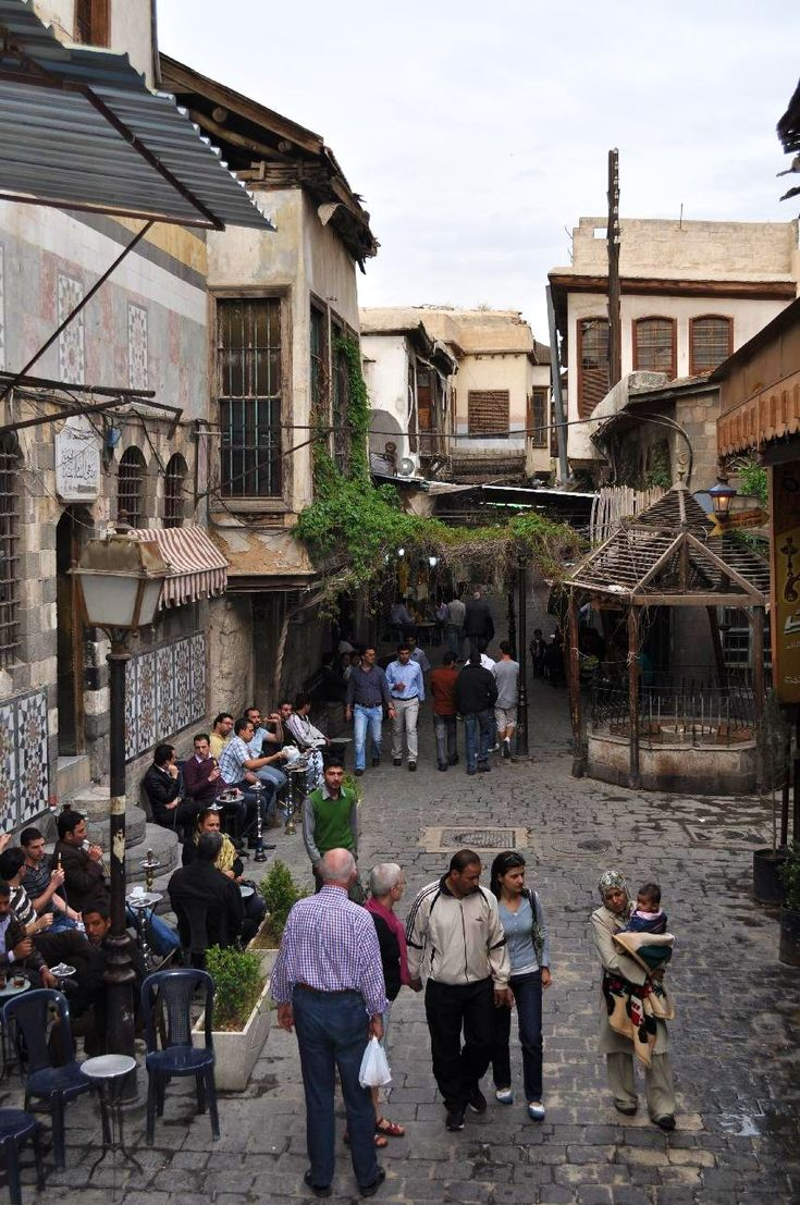 A street outside the Umayyad Mosque with cafes and other gathering places.